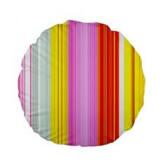 Multi Colored Bright Stripes Striped Background Wallpaper Standard 15  Premium Flano Round Cushions