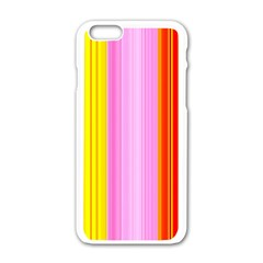 Multi Colored Bright Stripes Striped Background Wallpaper Apple Iphone 6/6s White Enamel Case