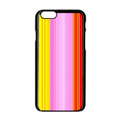 Multi Colored Bright Stripes Striped Background Wallpaper Apple Iphone 6/6s Black Enamel Case