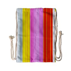 Multi Colored Bright Stripes Striped Background Wallpaper Drawstring Bag (Small)