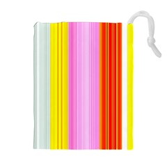 Multi Colored Bright Stripes Striped Background Wallpaper Drawstring Pouches (Extra Large)