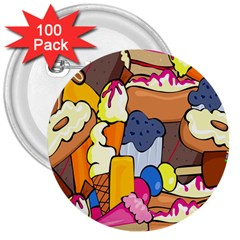 Sweet Stuff Digitally Created Sweet Food Wallpaper 3  Buttons (100 Pack)