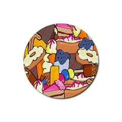Sweet Stuff Digitally Created Sweet Food Wallpaper Rubber Round Coaster (4 Pack)