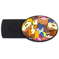 Sweet Stuff Digitally Created Sweet Food Wallpaper Usb Flash Drive Oval (2 Gb)