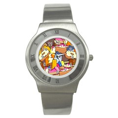 Sweet Stuff Digitally Created Sweet Food Wallpaper Stainless Steel Watch