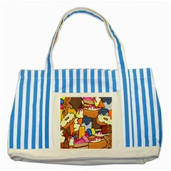 Sweet Stuff Digitally Created Sweet Food Wallpaper Striped Blue Tote Bag