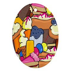 Sweet Stuff Digitally Created Sweet Food Wallpaper Oval Ornament (two Sides)
