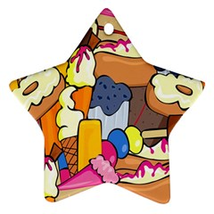 Sweet Stuff Digitally Created Sweet Food Wallpaper Star Ornament (Two Sides)