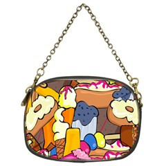 Sweet Stuff Digitally Created Sweet Food Wallpaper Chain Purses (Two Sides)