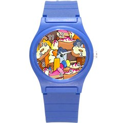 Sweet Stuff Digitally Created Sweet Food Wallpaper Round Plastic Sport Watch (s)