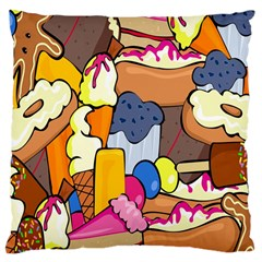 Sweet Stuff Digitally Created Sweet Food Wallpaper Large Cushion Case (two Sides)