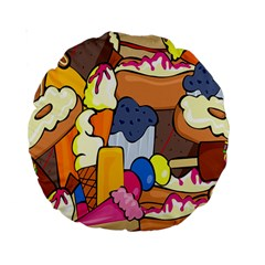 Sweet Stuff Digitally Created Sweet Food Wallpaper Standard 15  Premium Round Cushions