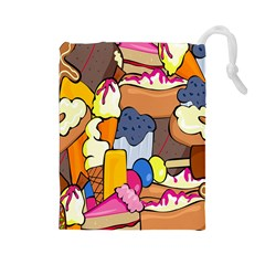 Sweet Stuff Digitally Created Sweet Food Wallpaper Drawstring Pouches (large)