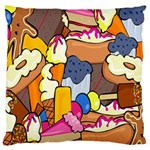 Sweet Stuff Digitally Created Sweet Food Wallpaper Large Flano Cushion Case (One Side) Front