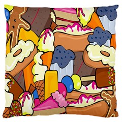 Sweet Stuff Digitally Created Sweet Food Wallpaper Large Flano Cushion Case (two Sides)