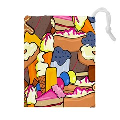 Sweet Stuff Digitally Created Sweet Food Wallpaper Drawstring Pouches (extra Large)