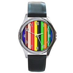 Colorful Striped Background Wallpaper Pattern Round Metal Watch