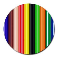 Colorful Striped Background Wallpaper Pattern Round Mousepads