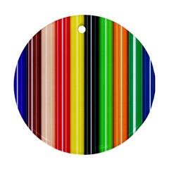 Colorful Striped Background Wallpaper Pattern Ornament (Round)
