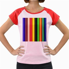 Colorful Striped Background Wallpaper Pattern Women s Cap Sleeve T Shirt