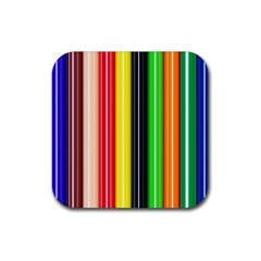Colorful Striped Background Wallpaper Pattern Rubber Coaster (square)