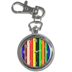 Colorful Striped Background Wallpaper Pattern Key Chain Watches