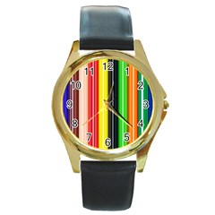 Colorful Striped Background Wallpaper Pattern Round Gold Metal Watch