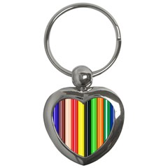Colorful Striped Background Wallpaper Pattern Key Chains (Heart)
