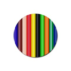 Colorful Striped Background Wallpaper Pattern Rubber Coaster (round)