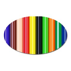 Colorful Striped Background Wallpaper Pattern Oval Magnet