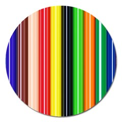 Colorful Striped Background Wallpaper Pattern Magnet 5  (round)