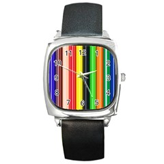 Colorful Striped Background Wallpaper Pattern Square Metal Watch