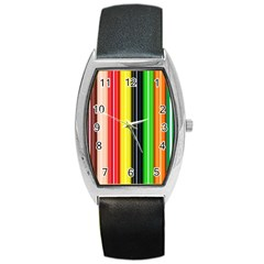 Colorful Striped Background Wallpaper Pattern Barrel Style Metal Watch
