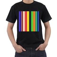Colorful Striped Background Wallpaper Pattern Men s T Shirt (black) (two Sided)