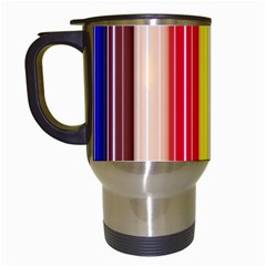 Colorful Striped Background Wallpaper Pattern Travel Mugs (white)