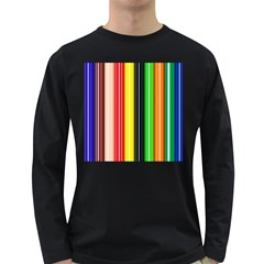 Colorful Striped Background Wallpaper Pattern Long Sleeve Dark T Shirts
