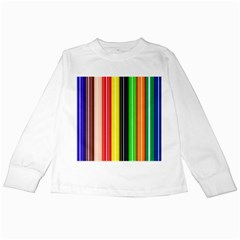 Colorful Striped Background Wallpaper Pattern Kids Long Sleeve T Shirts