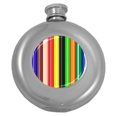 Colorful Striped Background Wallpaper Pattern Round Hip Flask (5 oz)