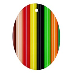 Colorful Striped Background Wallpaper Pattern Oval Ornament (two Sides)
