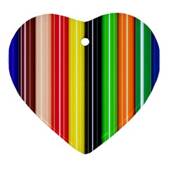 Colorful Striped Background Wallpaper Pattern Heart Ornament (two Sides)