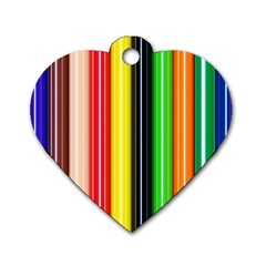 Colorful Striped Background Wallpaper Pattern Dog Tag Heart (one Side)