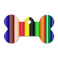 Colorful Striped Background Wallpaper Pattern Dog Tag Bone (two Sides)