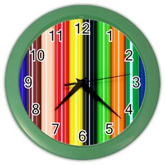 Colorful Striped Background Wallpaper Pattern Color Wall Clocks