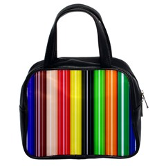 Colorful Striped Background Wallpaper Pattern Classic Handbags (2 Sides)