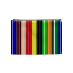 Colorful Striped Background Wallpaper Pattern Cosmetic Bag (medium)