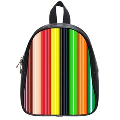 Colorful Striped Background Wallpaper Pattern School Bags (Small)
