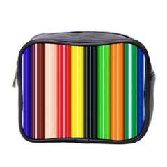 Colorful Striped Background Wallpaper Pattern Mini Toiletries Bag 2 Side