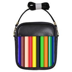 Colorful Striped Background Wallpaper Pattern Girls Sling Bags