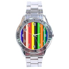 Colorful Striped Background Wallpaper Pattern Stainless Steel Analogue Watch