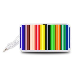 Colorful Striped Background Wallpaper Pattern Portable Speaker (White)